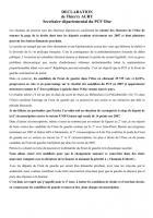 Déclaration de Thierry Aury après le 1er tour des Législatives - 11 juin 2012