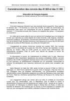 Commémoration des convois des 45 000 et des 31 000 - Allocution de François Auguste - Compiègne, 7 juillet 2012