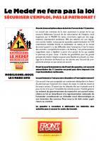 Tract du Front de gauche « Le Medef ne fera pas la loi » - 5 mars 2013