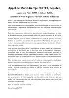 Appel de Marie-George Buffet à voter pour Pierre Ripart et Anthony Auger