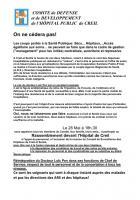 Appel du Comité de défense et de développement des hôpitaux de Creil et de Senlis au rassemblement du 28 mai 2013