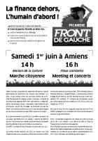 Appel du Front de gauche Picardie pour la marche citoyenne du 1er juin à Amiens - Oise, 10 mai 2013