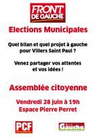 Affichette annonçant une assemblée citoyenne en vue des Municipales - Villers-Saint-Paul, 21 juin 2013