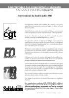 Journée nationale d'action interprofessionnelle pour notre salaire, notre emploi, notre retraite, nos conditions de travail-Communiqué de l'intersyndicale - 8 juillet 2013