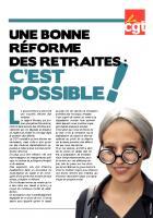 Une bonne réforme des retraites : c'est possible ! - CGT, 9 juillet 2013
