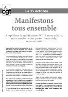 Tract de la CGT appelant à manifester le 15 octobre 2013