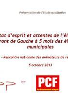 Sondage-Ifop-État d'esprit et attente de l'électorat Front de gauche à 5 mois des élections municipales - 5 octobre 2013