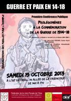 19 octobre, Creil - Libre Pensée Oise-Prolégomènes à la commémoration de la guerre de 1914-18