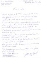 Courrier de Ida et Mario Fornaciari après la disparition de Fernand Tuil - Bourth, 27 décembre 2013