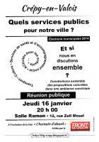 Affichette de campagne de la liste « L'humain d'abord » annonçant la réunion publique du 16 janvier « Quels services publics pour Crépy ? » - Crépy-en-Valois, 3 janvier 2014