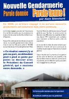 Tract de campagne de la liste « Saint-Leu qui rayonne et réunit » intitulé « Nouvelle gendarmerie, parole donnée, parole tenue » - Saint-Leu-d'Esserent, 21 janvier 2014
