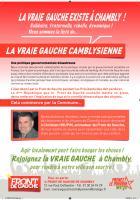 Tract de campagne de la liste « La vraie gauche camblysienne » - Chambly, 13 février 2014