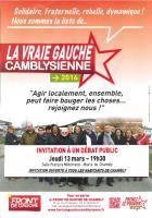 Affichette de la liste « La vraie gauche camblysienne » invitant au débat public du 13 mars - Chambly, 26 février 2014