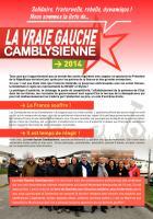 Tract de campagne de la liste « La vraie gauche camblysienne » - Chambly, 26 février 2014