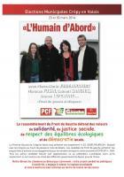Programme « Les Jours heureux » de la liste « L'humain d'abord » - Crépy-en-Valois, mars 2014