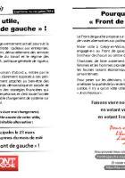 Tract de campagne de la liste « L'humain d'abord » appelant à voter Front de gauche - Crépy-en-Valois, 14 mars 2014