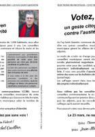 Tract de campagne « Votez, un geste citoyen contre l'austérité » de Jean-Michel Cuvillier - Le Fay-Saint-Quentin, 17 mars 2014