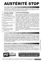 Tract du PCF-Front de gauche « Austérité stop » distribué à l'occasion de la journée d'action interprofessionnelle - Oise, 18 mars 2014