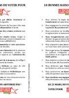 Tract de campagne «10 bonnes raisons de voter la vraie gauche camblysienne » - Chambly, 19 mars 2014