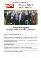 Communiqué de la liste « L'humain d'abord » - Béthisy-Saint-Pierre, 27 mars 2014