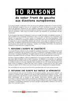 EE2014 - 10 raisons de voter Front de gauche