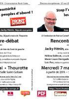 Tract annonçant la réunion publique avec Jacky Hénin et Patrice Carvalho le 7 mai à Thourotte • 29 avril 2014