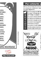 Tract « Boycott des produits israéliens et des entreprises qui collaborent avec Israël dans les colonies » distribué lors de la Journée à la mer - Oise, 23 août 2014