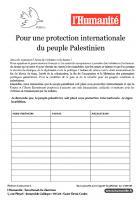 Pétition « Pour une protection internationale du peuple palestinien » signée lors de la Journée à la mer - Oise, 23 août 2014