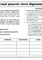 Pétition « On veut pouvoir vivre dignement » signée lors de la Journée à la mer - Oise, 23 août 2014