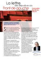 La lettre des député-e-s du Front de gauche n° 15 - Octobre 2014