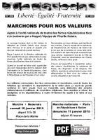 Tract « Liberté, égalité, fraternité : marchons pour nos valeurs » - PCF Oise, 9 janvier 2015