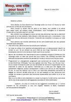 Courrier de « Mouy, une ville pour tous » à Mme le Maire de Mouy - 31 juillet 2015