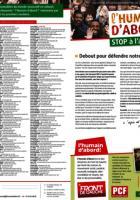Tract de campagne de l'Humain d'abord « Stop à l'austérité ! Debout pour défendre notre dignité » - Élection régionale Nord-Pas-de-Calais-Picardie, 6 octobre 2015
