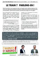 Tract de campagne de l'Humain d'abord « Le train ? Parlons-en ! » - Oise, élection régionale Nord-Pas-de-Calais-Picardie, 7 octobre 2015
