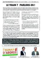 Tract de campagne de l'Humain d'abord « Le train ? Parlons-en ! » - Oise, élection régionale Nord-Pas-de-Calais-Picardie, 8 octobre 2015