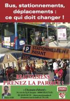 Tract « Bus, stationnements, déplacements : ce qui doit changer ! » - Front de gauche Beauvais, 16 octobre 2015