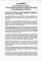 Tract de l'ADECR « Loi NOTRe : communes manacées ! » - Congrès de l'UMO, Clermont, 17 octobre 2015