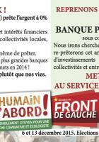 Tract-billet de banque de campagne de la liste Front de gauche l'Humain d'abord « Créons une banque publique régionale » - Élection régionale Nord-Pas-de-Calais, 4 novembre 2015
