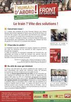 Tract de campagne de la liste Front de gauche l'Humain d'abord «Le train ? Vite des solutions »  - Oise, élection régionale Nord-Pas-de-Calais-Picardie, 9 novembre 2015