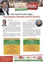 Tract de campagne de la liste Front de gauche l'Humain d'abord «Nous plaçons l'humain avant la finance - Liberté-Égalité-Fraternité » - Chambly, élection régionale Nord-Pas-de-Calais-Picardie, 19 novembre 2015