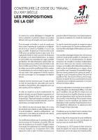 Construire le code du travail du XXIe siècle - Les propositions de la CGT