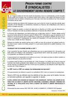 Communiqué de presse « Prison ferme contre 8 syndicalistes : le gouvernement devra rendre compte ! » - CGT, 12 janvier 2016