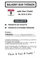 Tract « Collecte à Balagny-sur-Thérain » - Collectif Femmes Communistes Solidarité Migrantes, 23 mai 2016