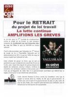 Tract « Pour le retrait du projet de loi Travail, la lutte continue : amplifions les grèves » - CGT Oise, 25 mai 2016