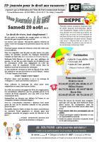Tract « Journée à la mer - Non à la fermeture des permanences de la Sécu, de la CAF et de la Caisse de retraite à Crépy » - Section PCF du Valois, 11 juillet 2016