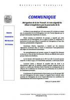 Communiqué de presse du groupe CRC : « Abrogation de la loi Travail : le vote négatif du Sénat n'empêchera pas la poursuite de la mobilisation » - France, 11 janvier 2017
