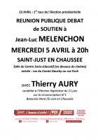 Flyer « Réunion publique-débat de soutien à Jean-Luc Mélenchon » - Saint-Just-en-Chaussée, 5 avril 2017