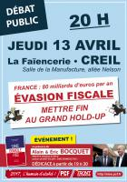 Affiche « Évasion fiscale : mettre fin au grand hold-up » - Creil, 13 avril 2017