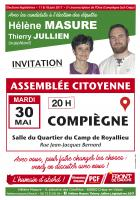 Affichette et flyer « Assemblée citoyenne à Compiègne en présence de Hélène Masure et Thierry Jullien » - 5e circonscription de l'Oise, 30 mai 2017