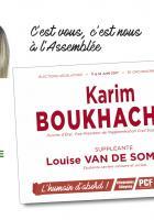 Flyer « Le 11 juin, votons Karim Boukhachba et Louise Van de Sompele » - 3e circonscription de l'Oise, 6 juin 2017